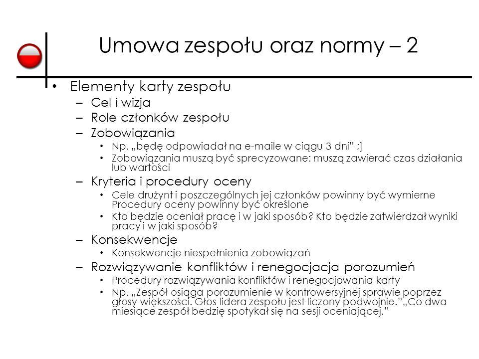 Umowa zespołu oraz normy – 2