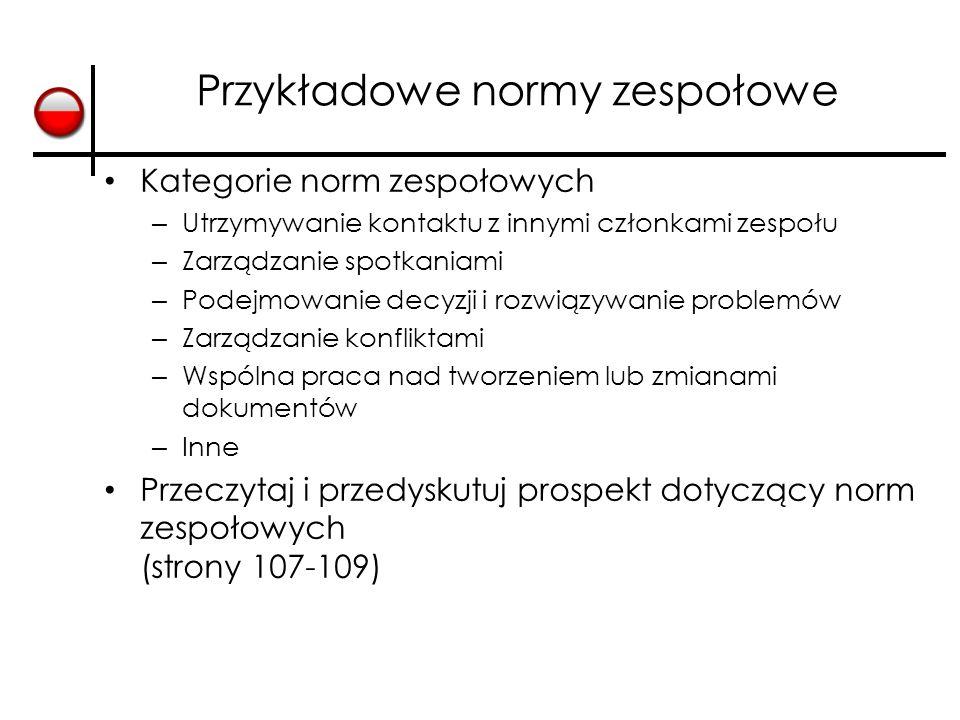 Przykładowe normy zespołowe