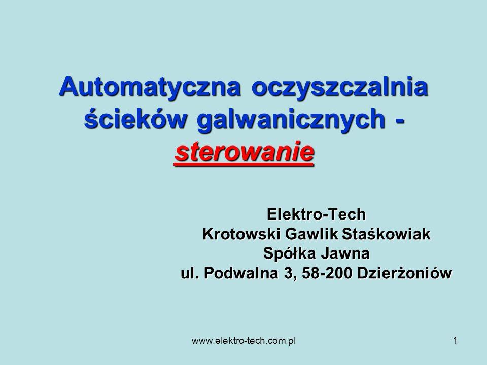Automatyczna oczyszczalnia ścieków galwanicznych - sterowanie