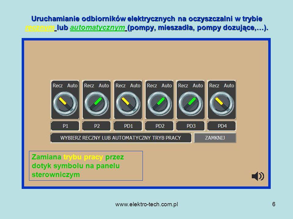Zamiana trybu pracy przez dotyk symbolu na panelu sterowniczym