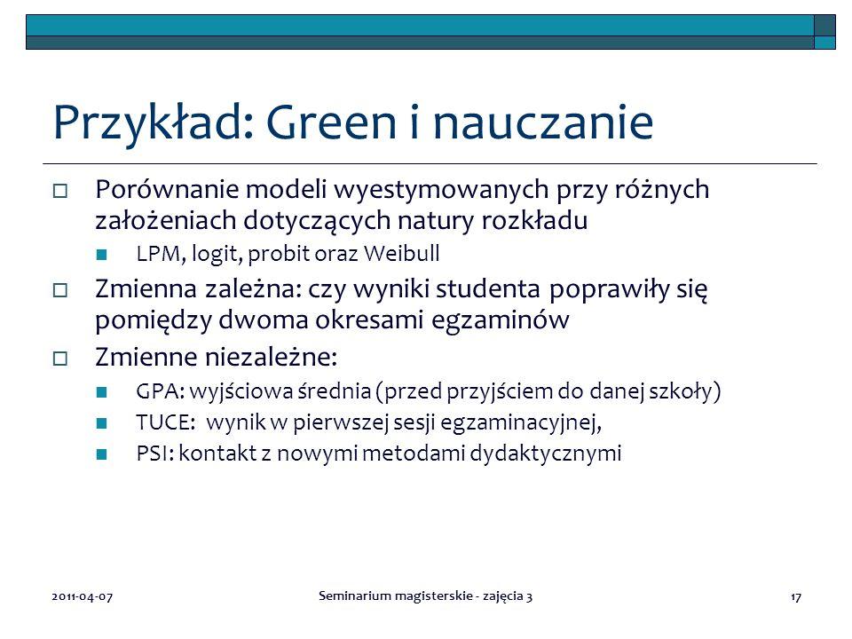Przykład: Green i nauczanie