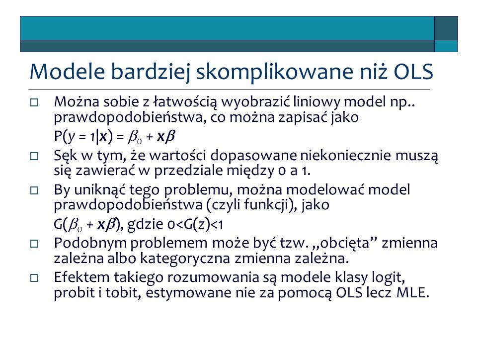 Modele bardziej skomplikowane niż OLS