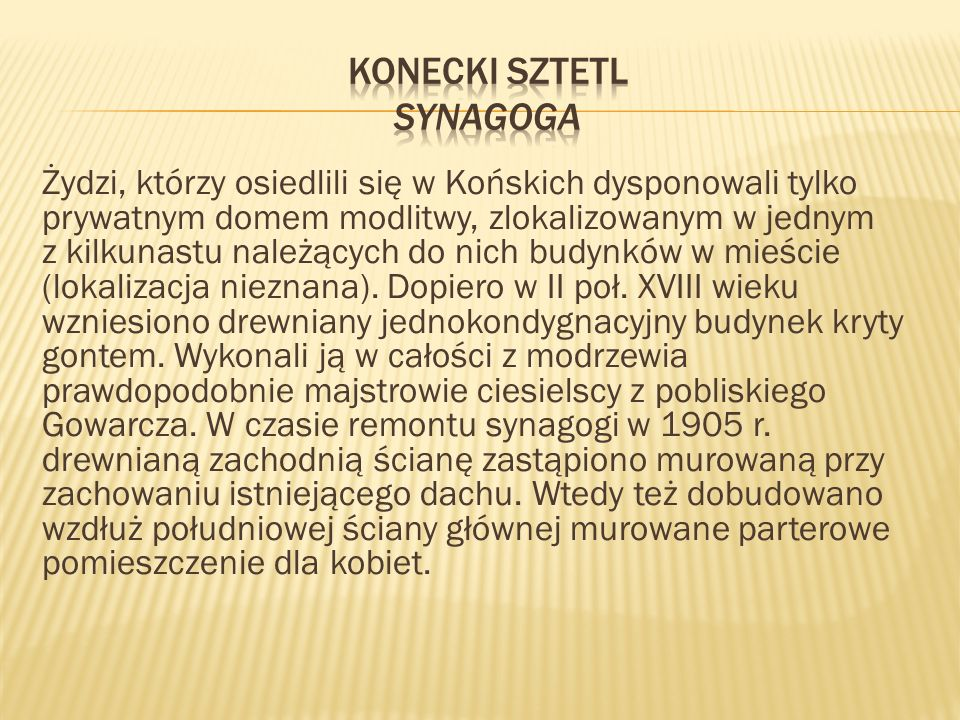 Konecki sztetl Synagoga