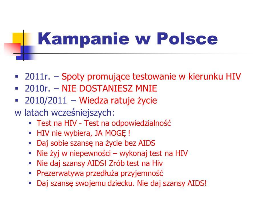 Kampanie w Polsce 2011r. – Spoty promujące testowanie w kierunku HIV