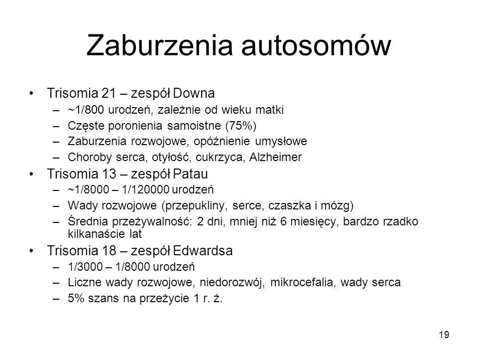 Zaburzenia autosomów Trisomia 21 – zespół Downa