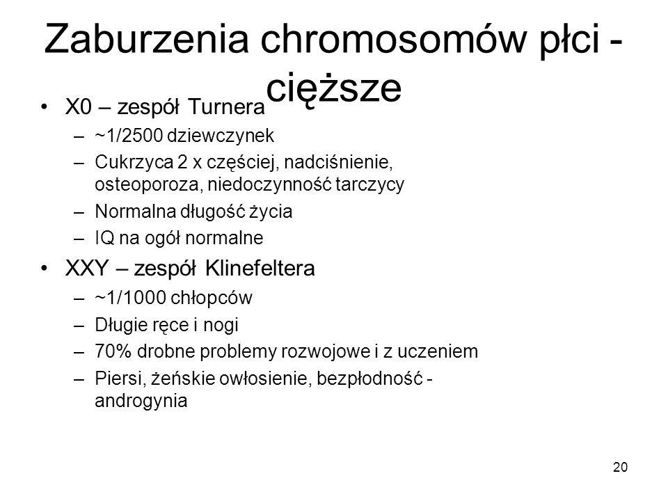 Zaburzenia chromosomów płci - cięższe