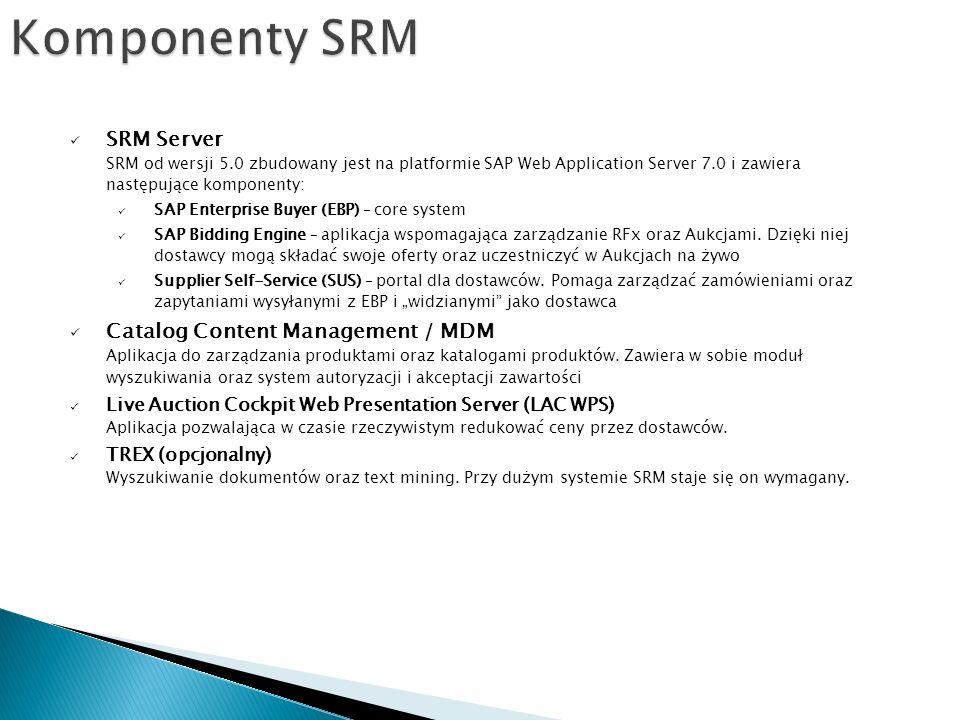 Komponenty SRM SRM Server SRM od wersji 5.0 zbudowany jest na platformie SAP Web Application Server 7.0 i zawiera następujące komponenty: