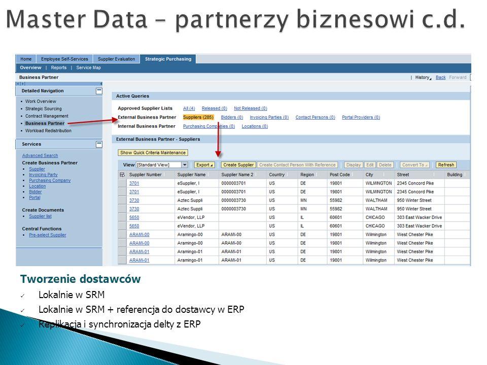 Master Data – partnerzy biznesowi c.d.