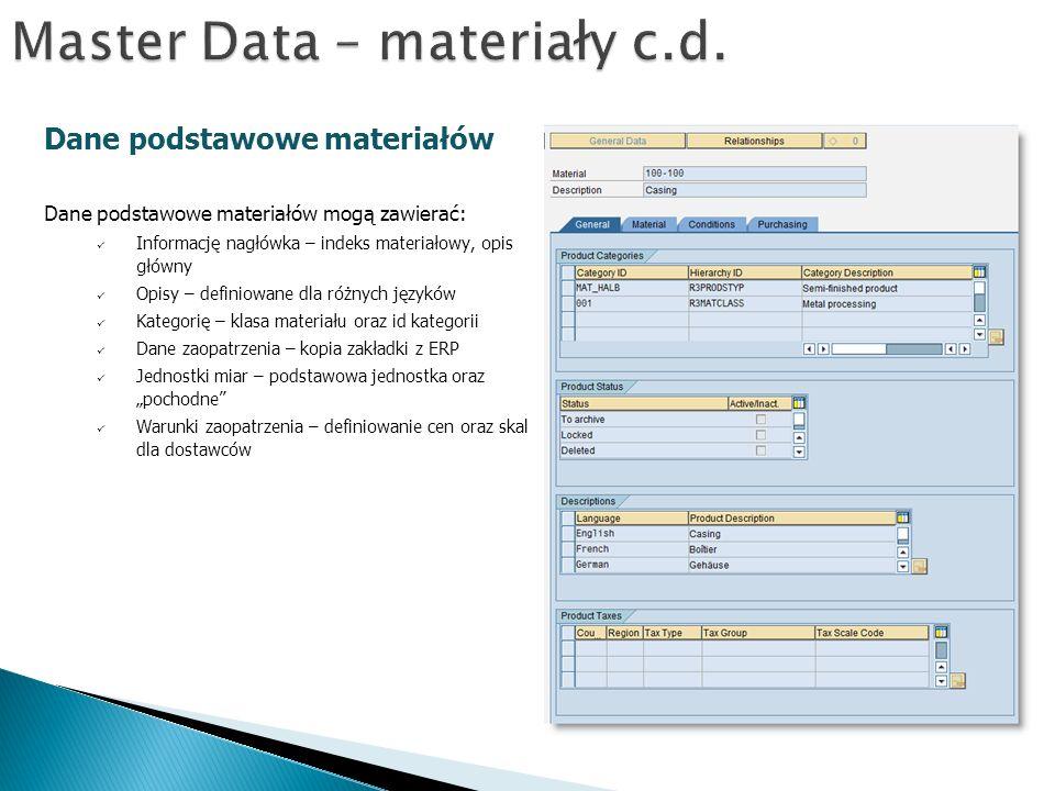 Master Data – materiały c.d.
