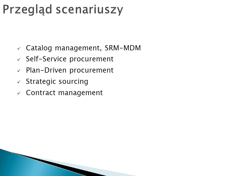 Przegląd scenariuszy Catalog management, SRM-MDM