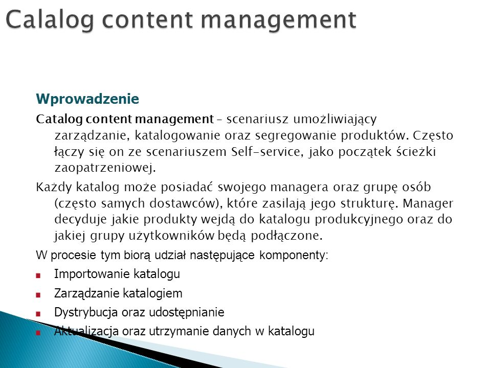Calalog content management