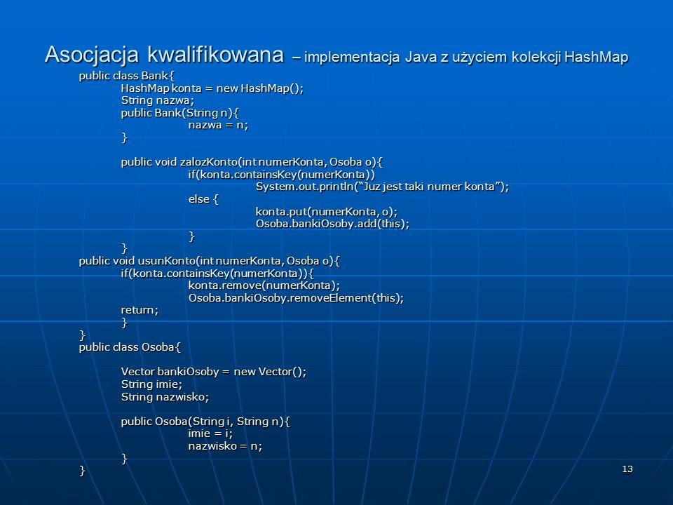 Asocjacja kwalifikowana – implementacja Java z użyciem kolekcji HashMap