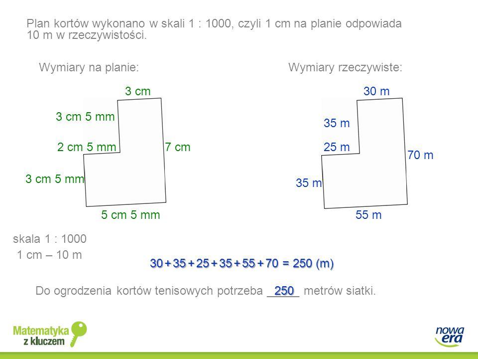 Plan kortów wykonano w skali 1 : 1000, czyli 1 cm na planie odpowiada 10 m w rzeczywistości.