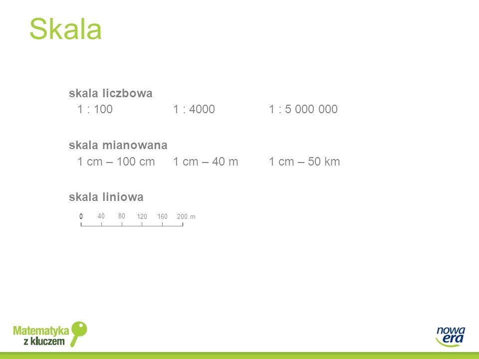 Skala skala liczbowa 1 : 100 1 : 4000 1 : 5 000 000 skala mianowana