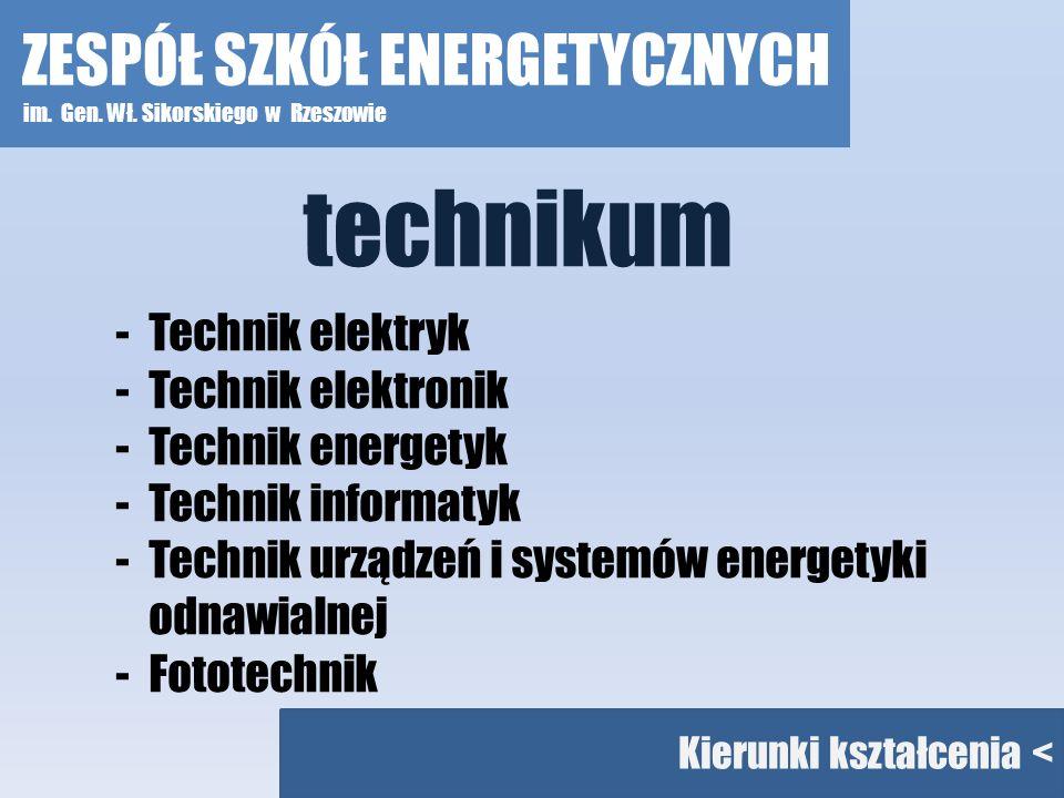 technikum ZESPÓŁ SZKÓŁ ENERGETYCZNYCH Technik elektryk