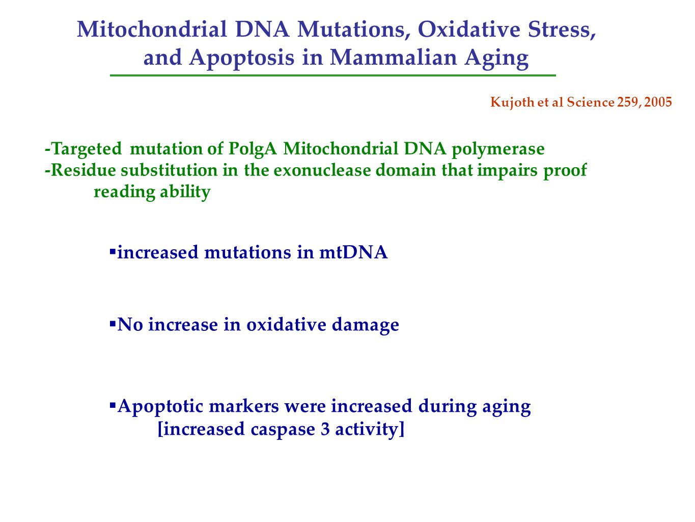 Mitochondrial DNA Mutations, Oxidative Stress, and Apoptosis in Mammalian Aging
