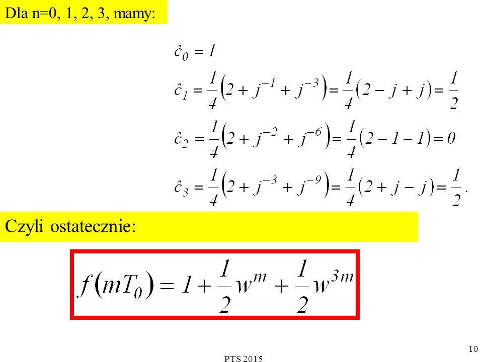 Dla n=0, 1, 2, 3, mamy: Czyli ostatecznie: . PTS 2015