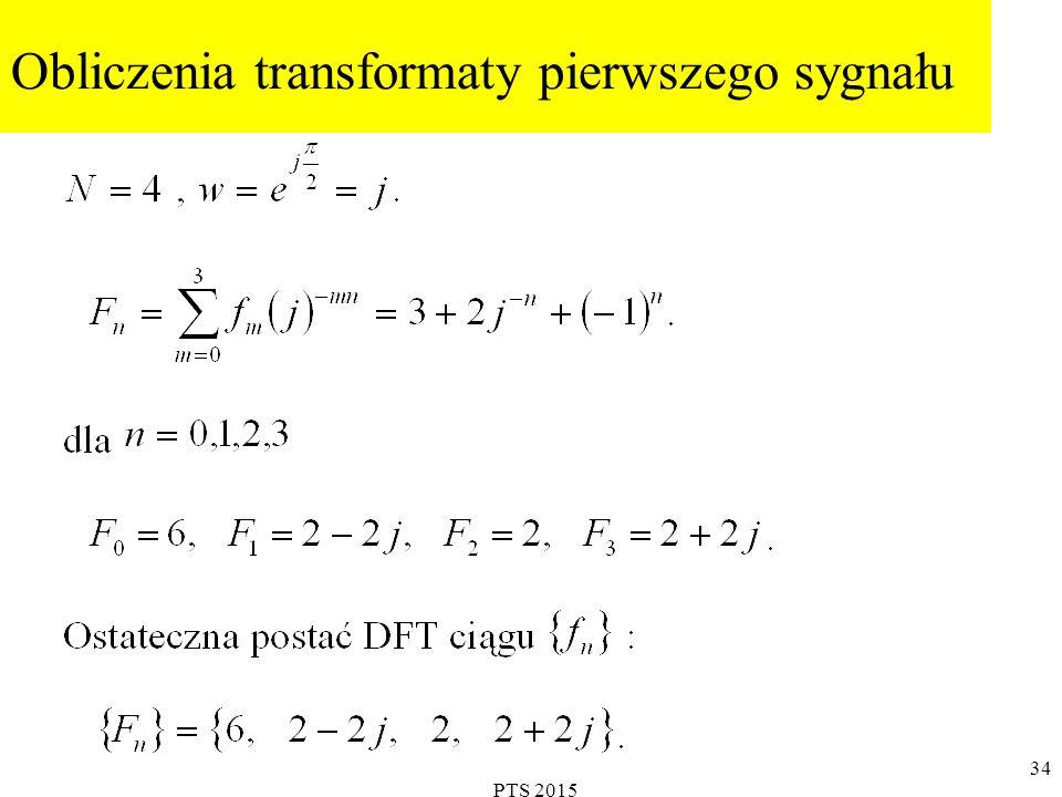Obliczenia transformaty pierwszego sygnału