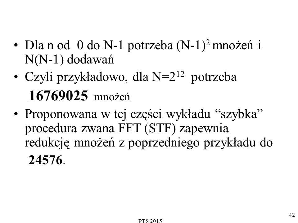 Dla n od 0 do N-1 potrzeba (N-1)2 mnożeń i N(N-1) dodawań