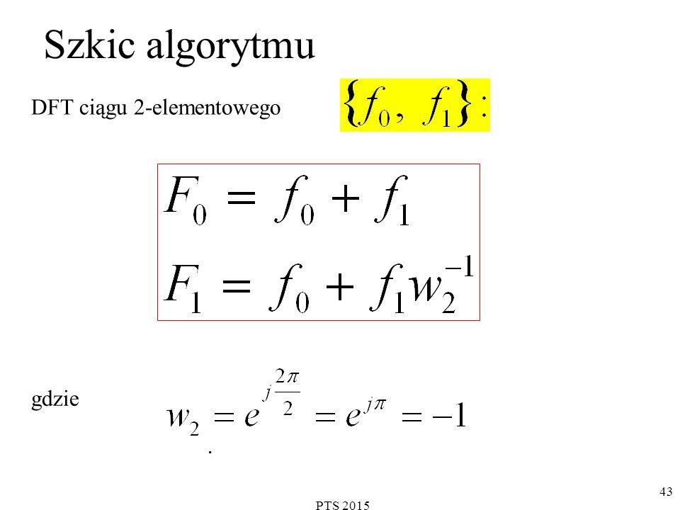 Szkic algorytmu DFT ciągu 2-elementowego gdzie . PTS 2015