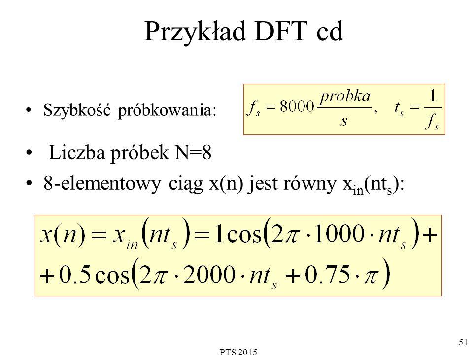 Przykład DFT cd Liczba próbek N=8