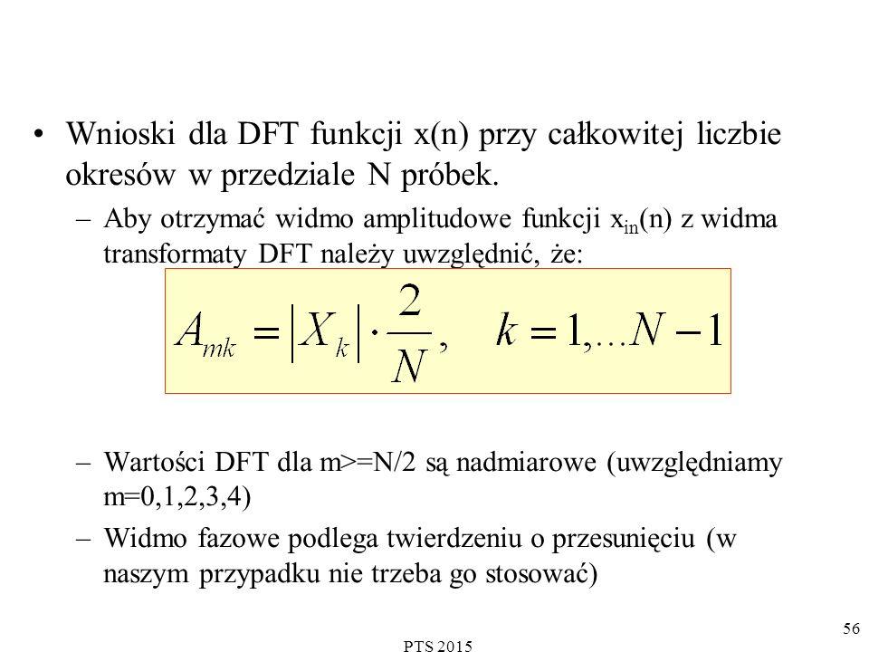 Wnioski dla DFT funkcji x(n) przy całkowitej liczbie okresów w przedziale N próbek.