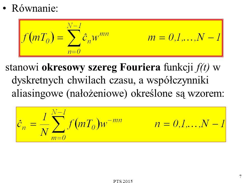 Równanie: stanowi okresowy szereg Fouriera funkcji f(t) w dyskretnych chwilach czasu, a współczynniki aliasingowe (nałożeniowe) określone są wzorem:
