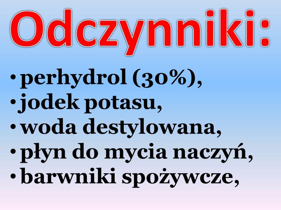 Odczynniki: perhydrol (30%), jodek potasu, woda destylowana,