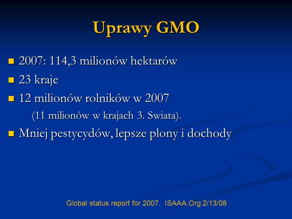 Uprawy GMO 2007: 114,3 milionów hektarów 23 kraje