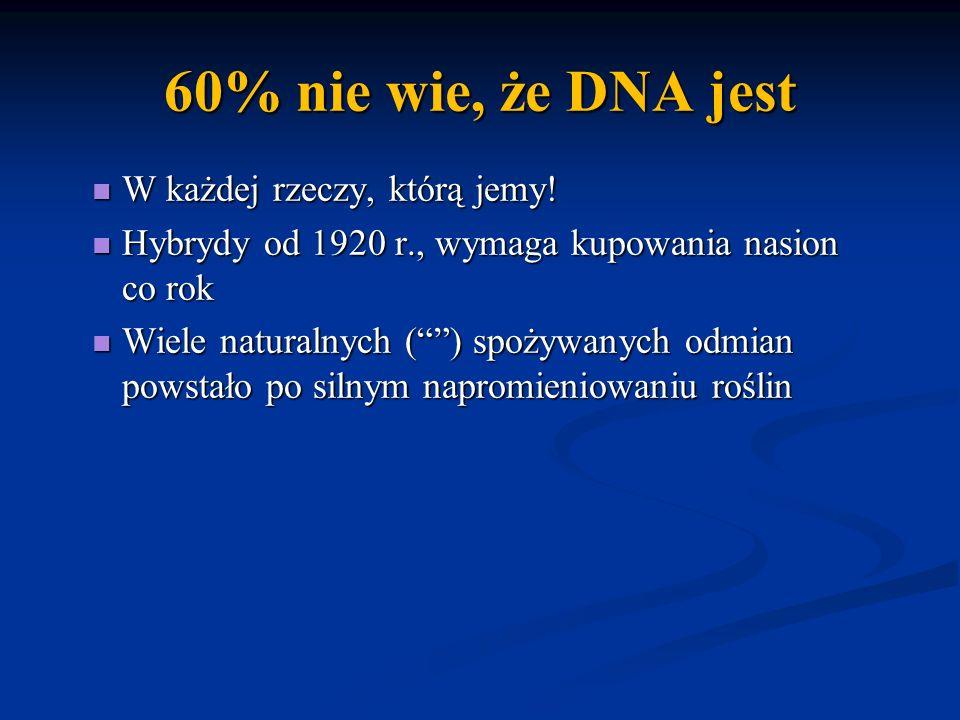60% nie wie, że DNA jest W każdej rzeczy, którą jemy!