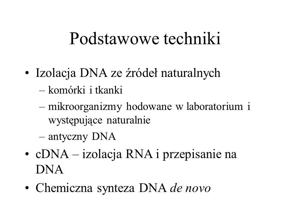 Podstawowe techniki Izolacja DNA ze źródeł naturalnych