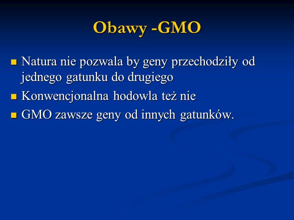 Obawy -GMO Natura nie pozwala by geny przechodziły od jednego gatunku do drugiego. Konwencjonalna hodowla też nie.