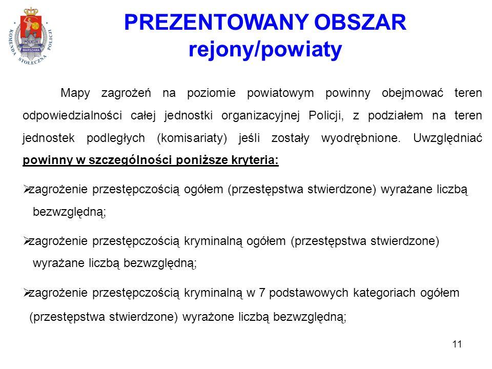 PREZENTOWANY OBSZAR rejony/powiaty