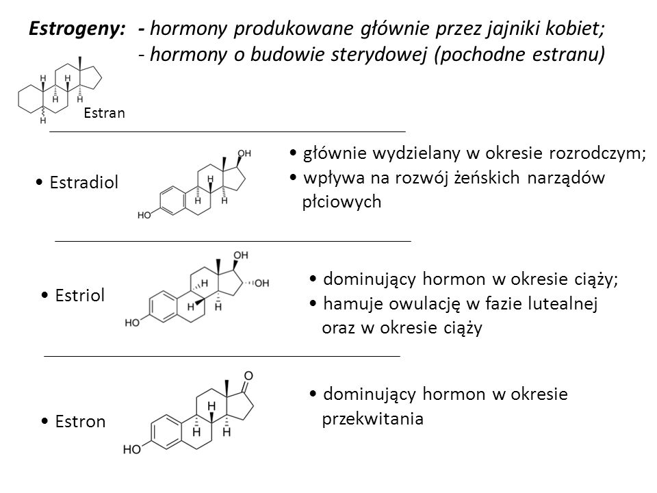 - hormony produkowane głównie przez jajniki kobiet;