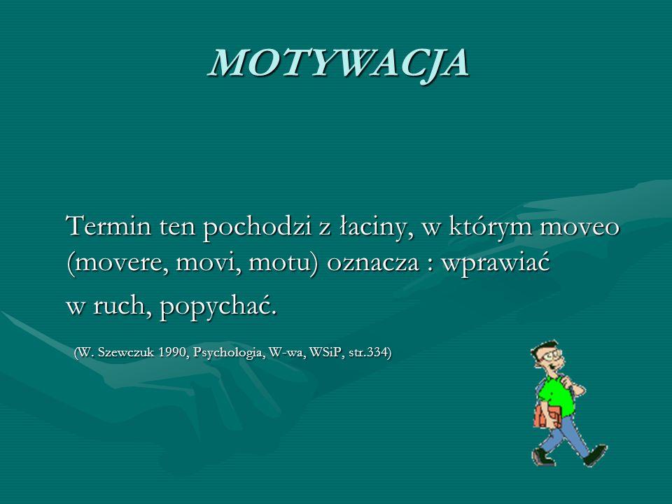 MOTYWACJA Termin ten pochodzi z łaciny, w którym moveo (movere, movi, motu) oznacza : wprawiać. w ruch, popychać.