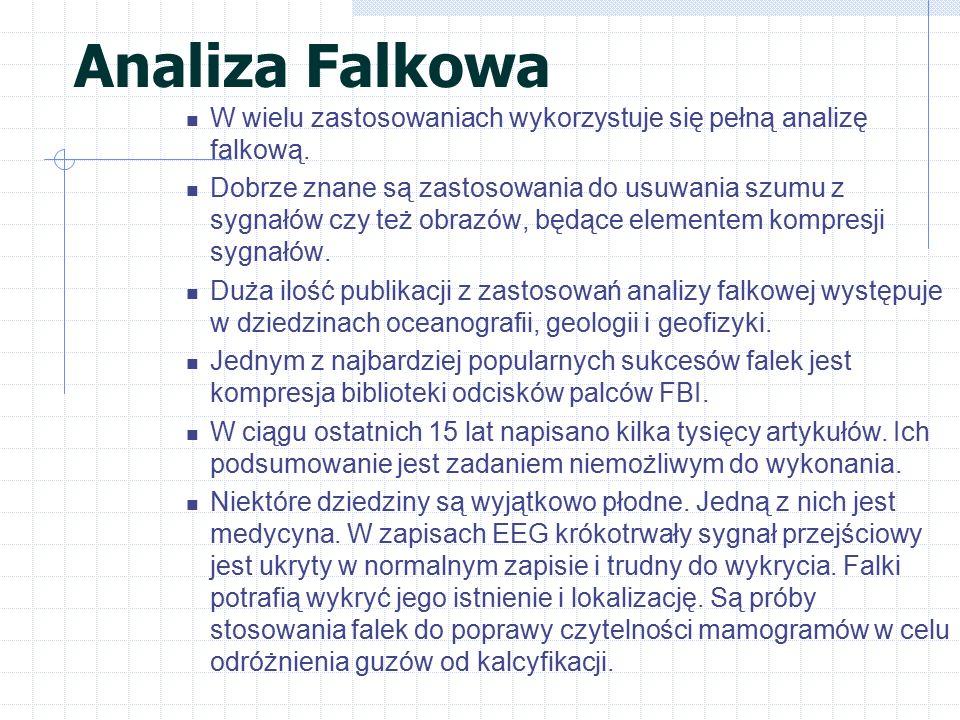 Analiza Falkowa W wielu zastosowaniach wykorzystuje się pełną analizę falkową.