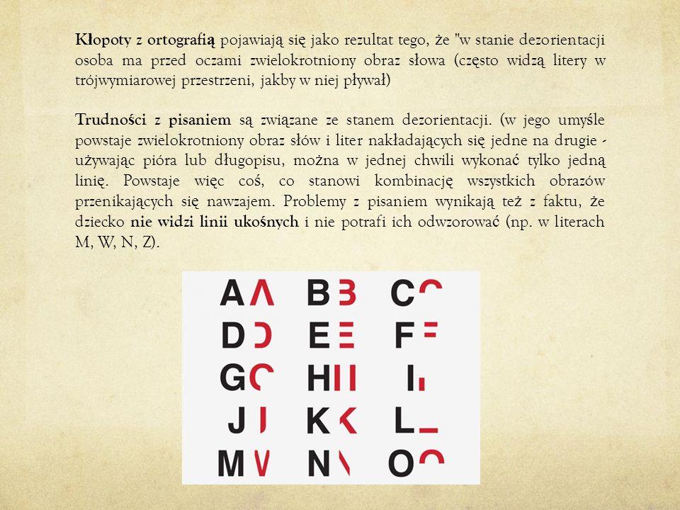 Kłopoty z ortografią pojawiają się jako rezultat tego, że w stanie dezorientacji osoba ma przed oczami zwielokrotniony obraz słowa (często widzą litery w trójwymiarowej przestrzeni, jakby w niej pływał)