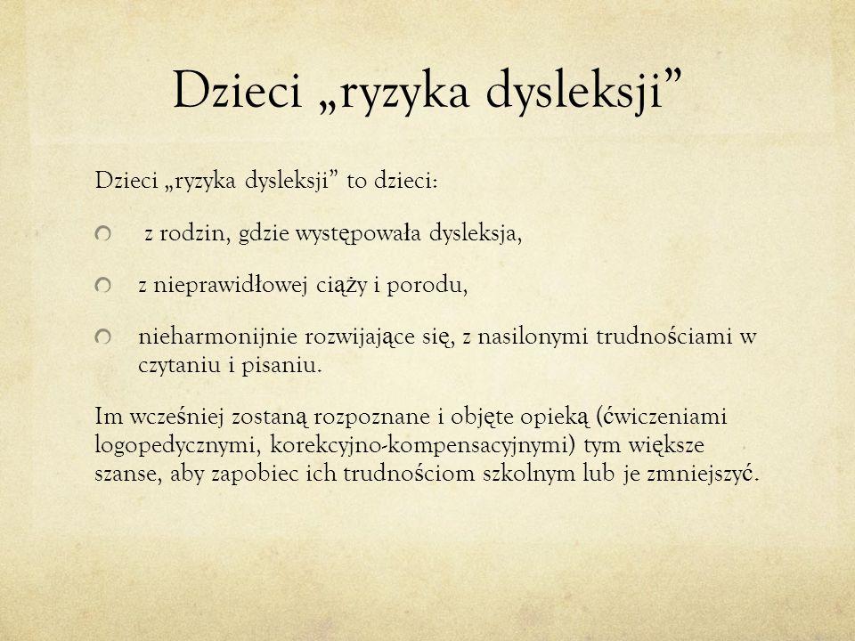 """Dzieci """"ryzyka dysleksji"""
