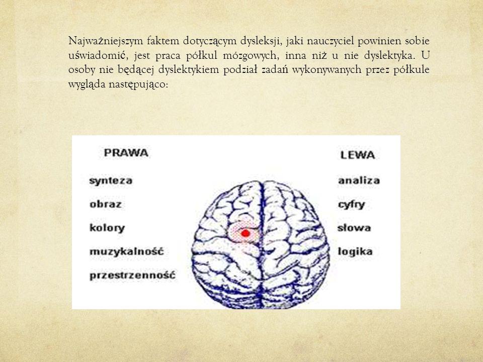 Najważniejszym faktem dotyczącym dysleksji, jaki nauczyciel powinien sobie uświadomić, jest praca półkul mózgowych, inna niż u nie dyslektyka.
