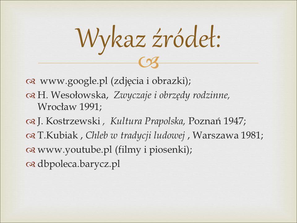 Wykaz źródeł: www.google.pl (zdjęcia i obrazki);