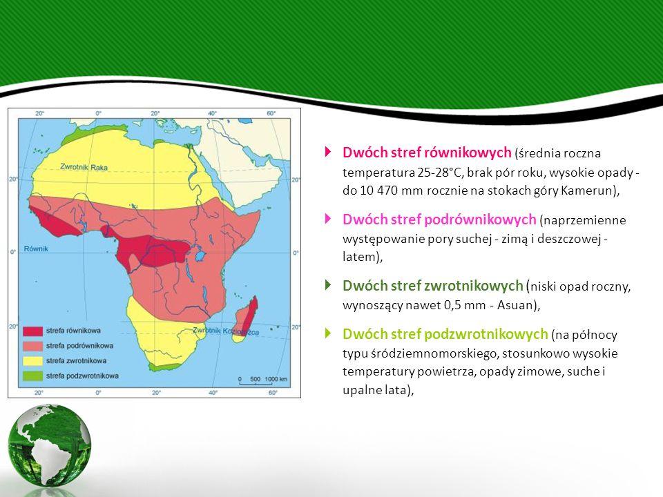 Dwóch stref równikowych (średnia roczna temperatura 25-28°C, brak pór roku, wysokie opady - do 10 470 mm rocznie na stokach góry Kamerun),