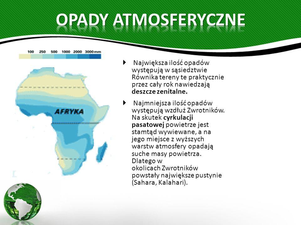OPADY ATMOSFERYCZNE Największa ilość opadów występują w sąsiedztwie Równika tereny te praktycznie przez cały rok nawiedzają deszcze zenitalne.