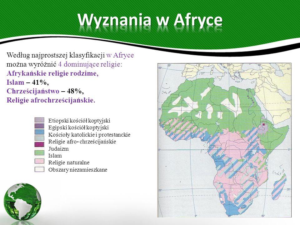 Wyznania w Afryce Według najprostszej klasyfikacji w Afryce można wyróżnić 4 dominujące religie: Afrykańskie religie rodzime,