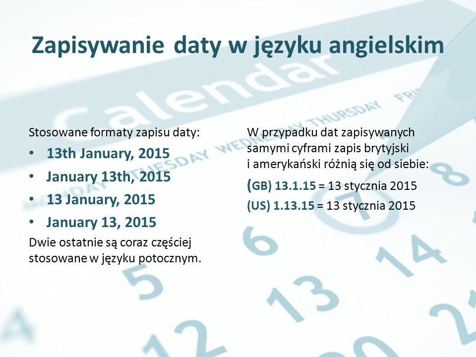 Zapisywanie daty w języku angielskim