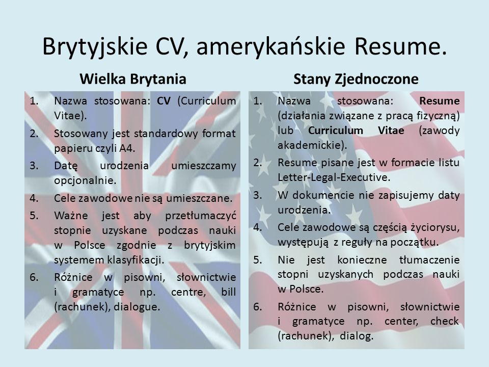Brytyjskie CV, amerykańskie Resume.