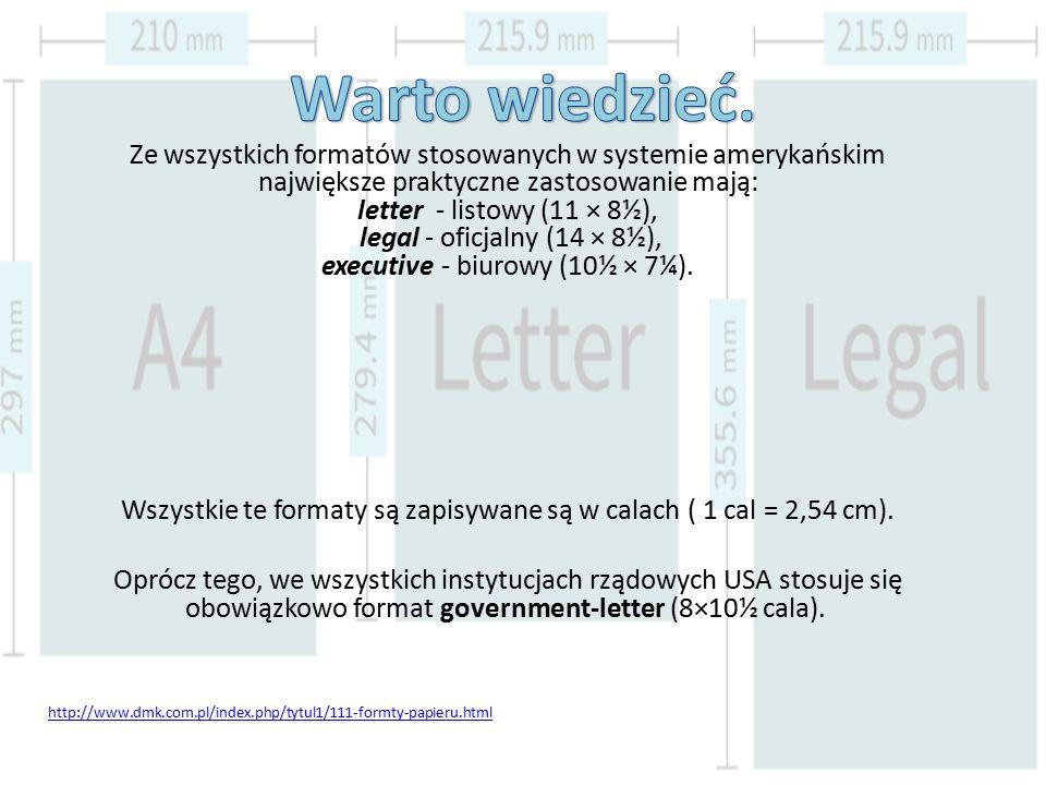 Wszystkie te formaty są zapisywane są w calach ( 1 cal = 2,54 cm).