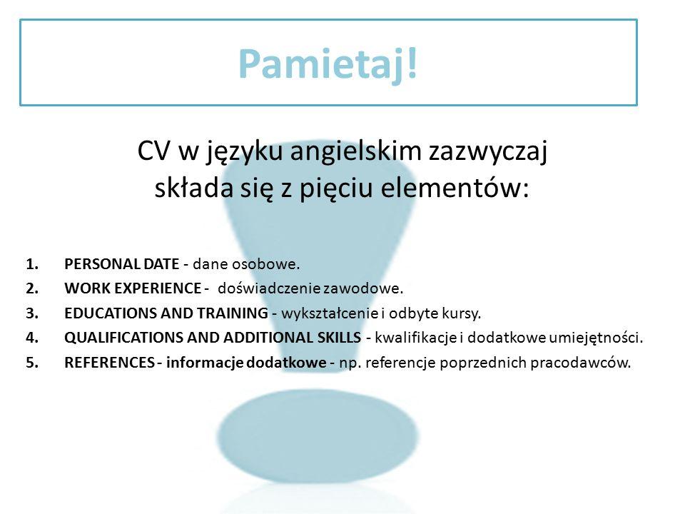 CV w języku angielskim zazwyczaj składa się z pięciu elementów: