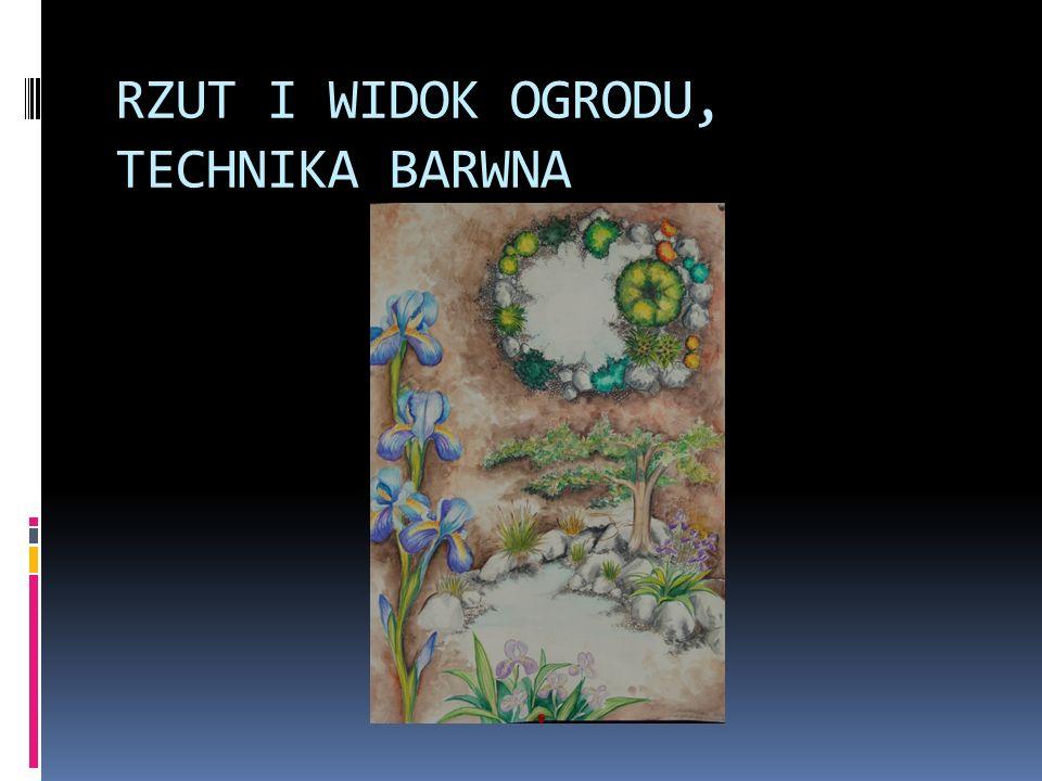 RZUT I WIDOK OGRODU, TECHNIKA BARWNA