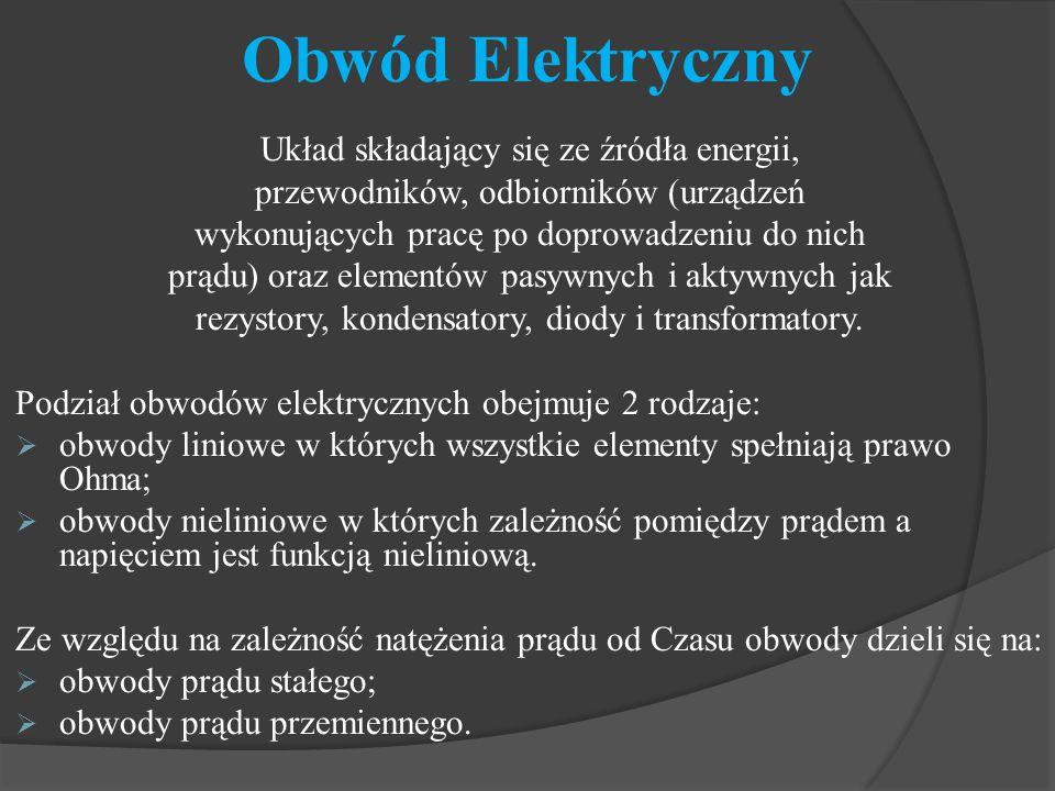 Obwód Elektryczny Układ składający się ze źródła energii,