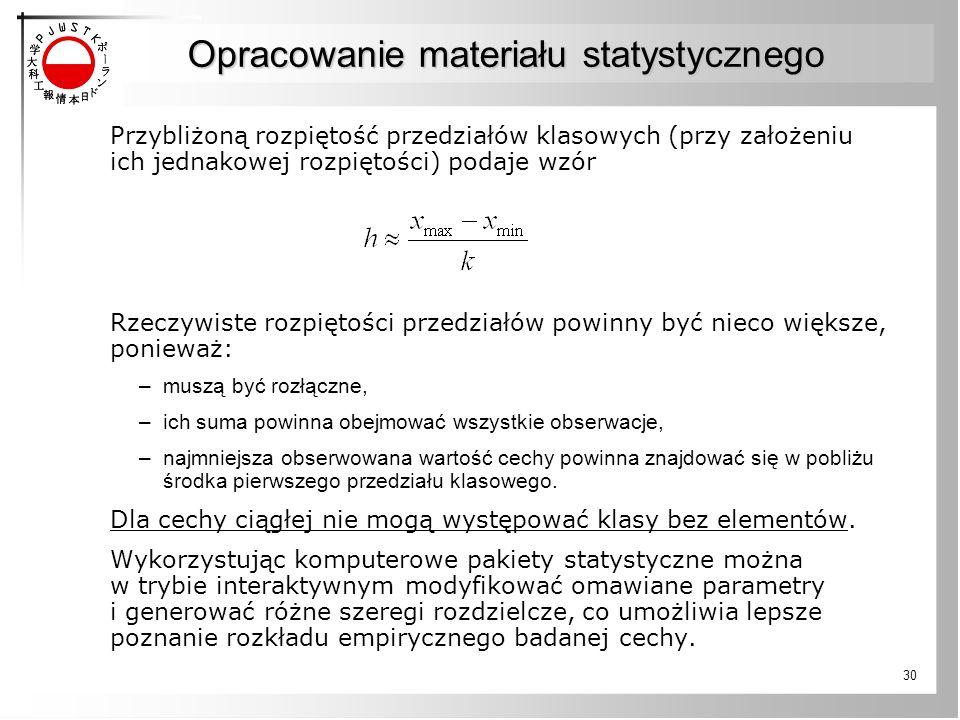 Opracowanie materiału statystycznego